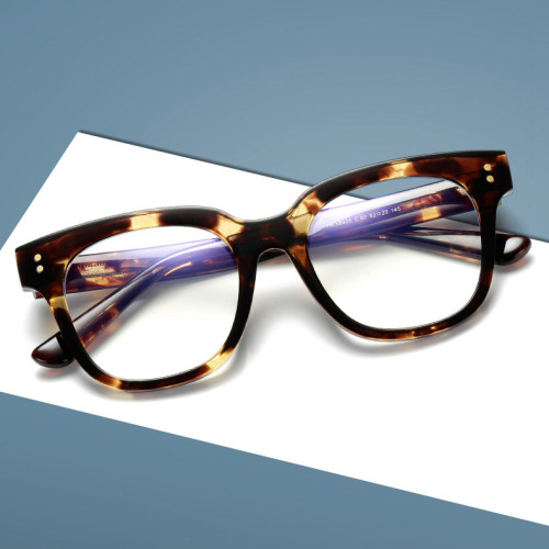High Quality TR90 Frame Propanoic Acid Temples Square Blue Light Blocking Glasses