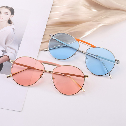 Round Oval Metal Frame Men Women Tinted Mirrored Sunglasses