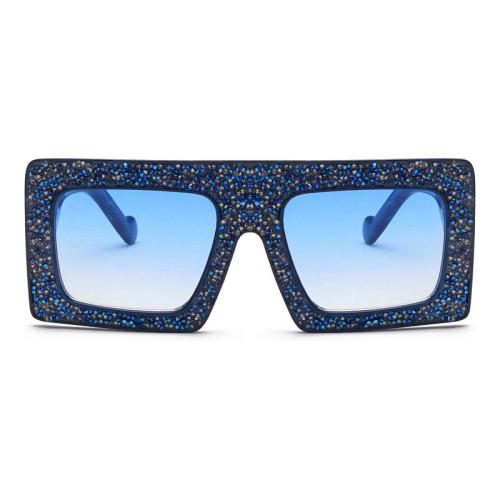 Oversized Flat Top Square Rhinestone Fashion Women Designer Shades Sunglasses