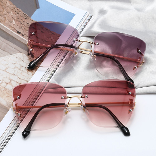 Diamond Cut Oversized Women Rimless Butterfly Sunglasses