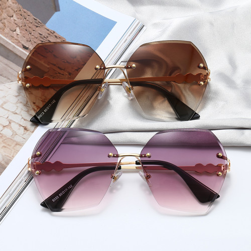 Women's Tint Fashion Elegant Pearl Rimless Butterfly Shades Sunglasses