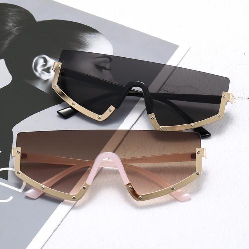 Mono Lens Oversized Half Rim Shield Sunglasses