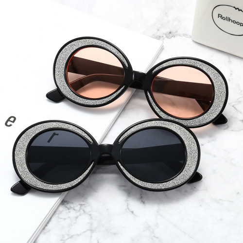 Oval Round Bling Fashion Sunglasses