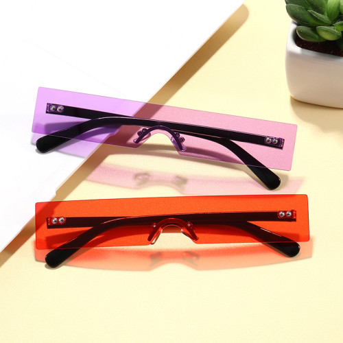 Tinted Rimless Small One Piece Lens Rectangle Sunglasses