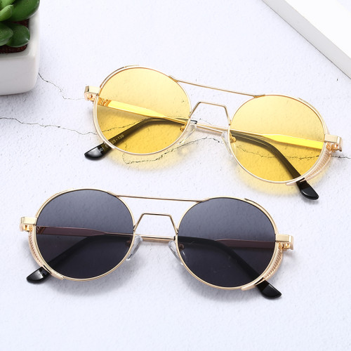 Steampunk 2020 Vintage Retro Round Metal Sunglasses