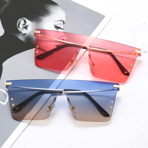 Rimless Designer Flat Top Sunglasses