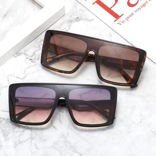Mono Lens Oversized Shield Flat Top Sunglasses
