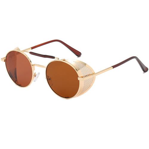 Gothic Side Shield Round Metal Steampunk Sunglasses