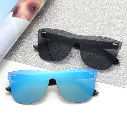 UV400 Rimless Mirrored One Piece Lens Sunglasses
