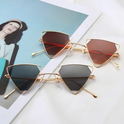 Men Women Tinted Lenses Triangle Metal Sunglasses