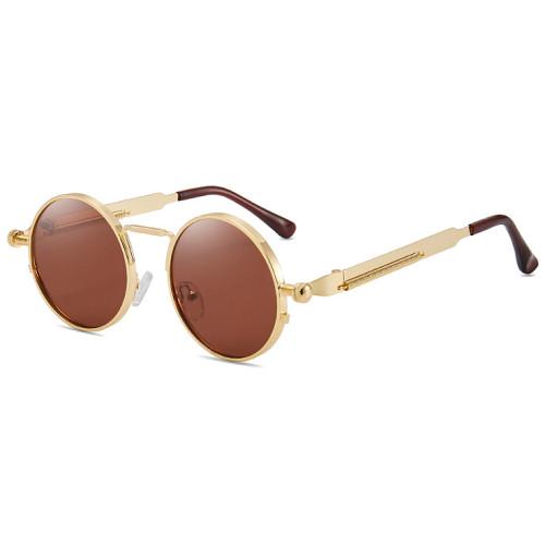 Retro Vintage Round Metal Steampunk Sunglasses