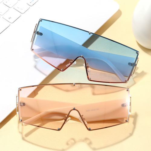 One Piece Lens Oversize Shield Sunglasses