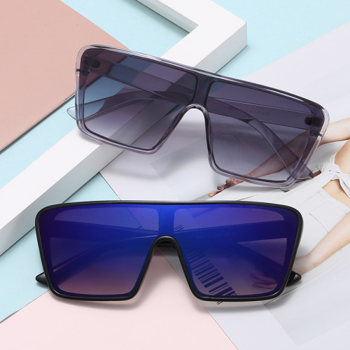 Men Women Shades Flat Top Shield Sunglasses