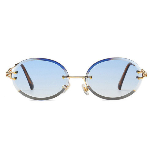 Vintage Sun glasses Men Women Oval Rimless Sunglasses