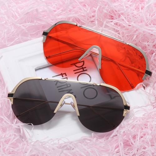 Fashion Mono Lens Sun glasses Women Half Frame Sunglasses