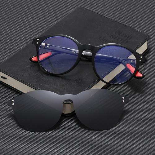 Retro Round TR90 Optical Frame Polarized Clip On Sun Glasses