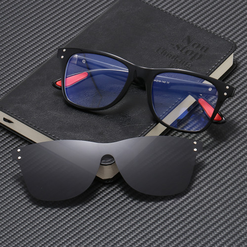 TR90 Square Optical Frame Glasses with Rimless Polarized Magnet Clip On Lenses