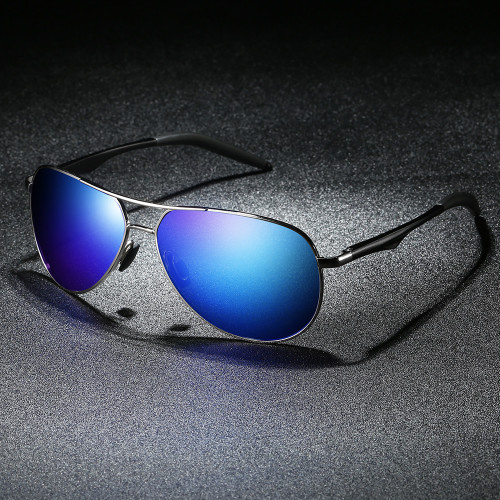 Classic Blue Mirrored Pilot Style Driving Sun glasses Mens Polarized Shades Sunglasses
