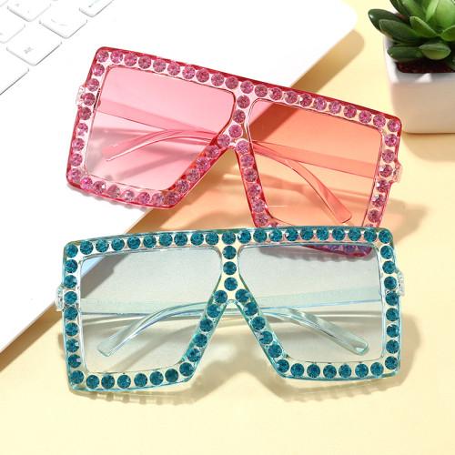 Oversize Square Diamond Rhinestones Sunglasses