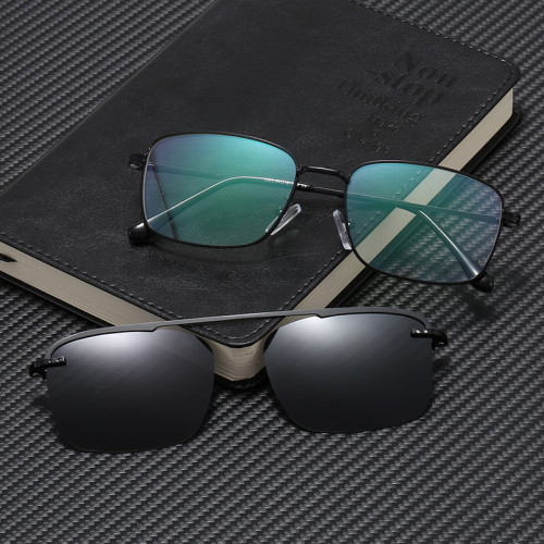 Optical Frames with Polarized Clips Square Metal Magnet Clip On Glasses