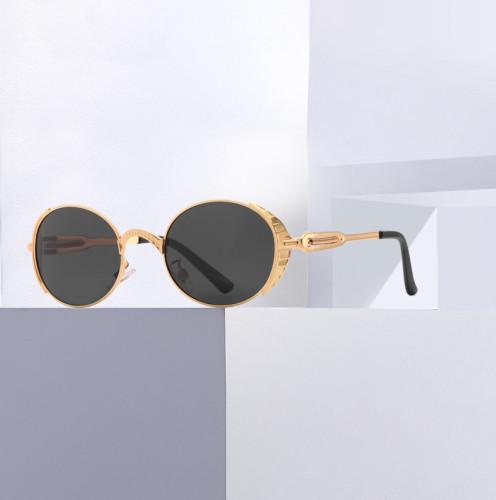 Vintage Oval Metal Steampunk Sunglasses