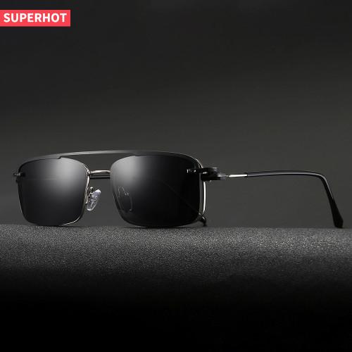 Rectangle Metal Frame Polarized Clip On Glasses