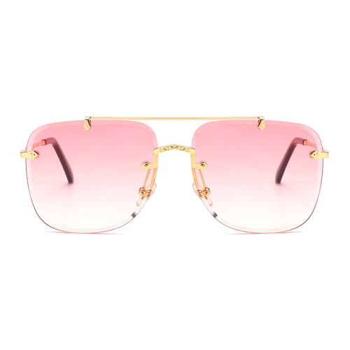 Fashion Tinted Rimless Women Sunglasses