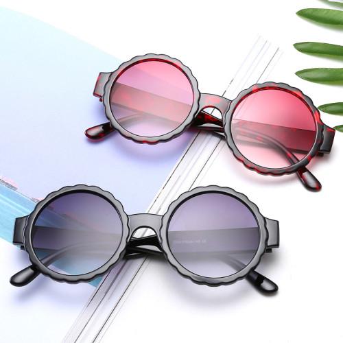 Fashion Gradient Sun glasses Round Ripple Women Sunglasses