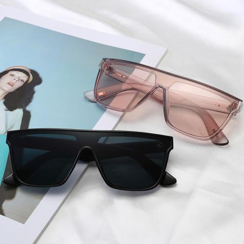 Fashion Men Women Black Rectangular Shield Shades Flat Top Sunglasses