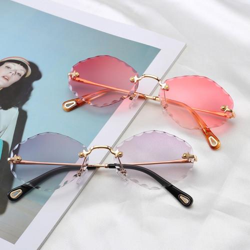 Fashion Diamond Cutting Lady Sun glasses Tinted Rimless Sunglasses