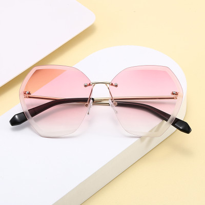 Oversized Tinted Rimless UV400 Women Ladies Shades Sunglasses