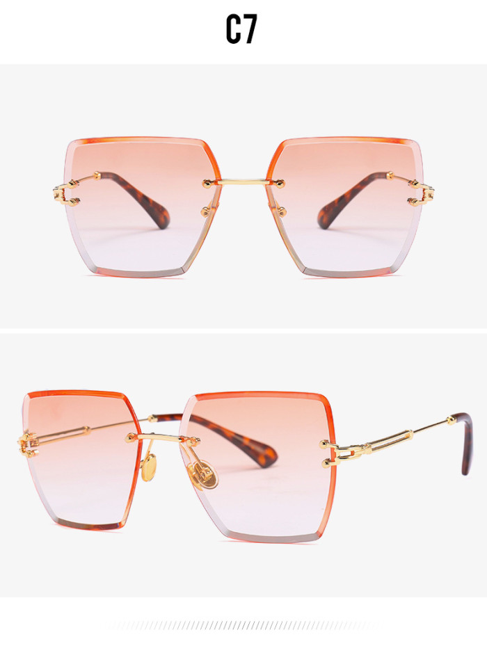 Fashion Women Sun glasses Female Square Rimless Sunglasses