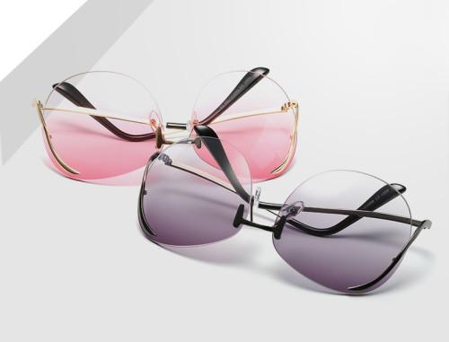Fashion Women Sun glasses Oversized Rimless Sunglasses