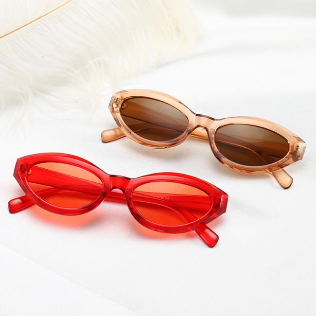 Small Retro Vintage Sun glasses Plastic White Oval Sunglasses