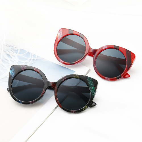 Strips Color Cateye Sun glasses PC Frame Women Fashion Sunglasses