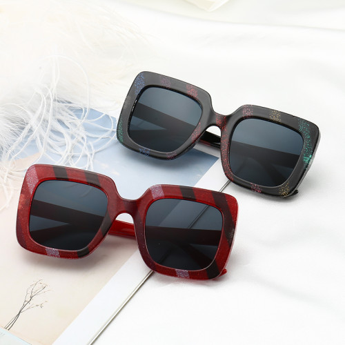 Strips Color Square Sun glasses PC Frame Men Women Sunglasses Fashion Eyewear