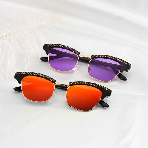 Fashion Half Frame Sun glasses Crystal Rhinestone Women Sunglasses