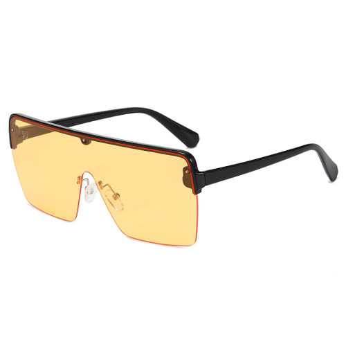 Fashion Oversized Half Frame Sun glasses Flat Top  UV400 Shades Sunglasses