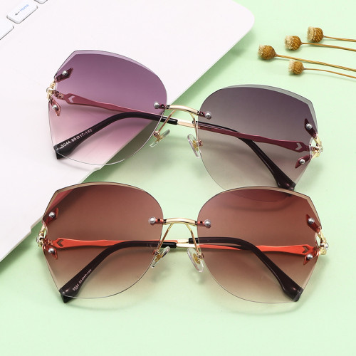 Fashion Oversize Rimless Square Shades Sunglasses