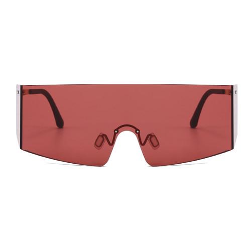 Fashion Oversize One Piece Lens Rimless UV400 Shades Sunglasses