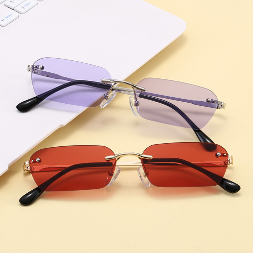 Fashion Retro Vintage Sunglasses Small Rimless Rectangular Sunglasses