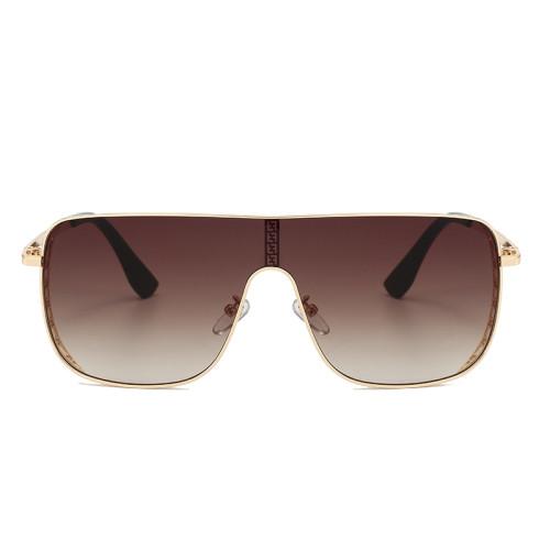 Fashion Oversize One Piece Lens metal frame UV400 Shades Sunglasses
