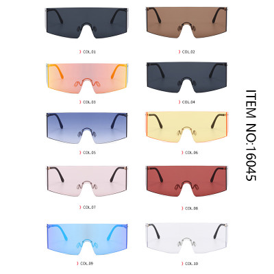 Fashion Oversize One Piece Lens Rimless UV400 Shades Sunglasses
