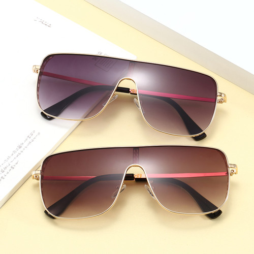 Fashion Oversize One Piece Lens metal frame UV400 Shades Sunglasses