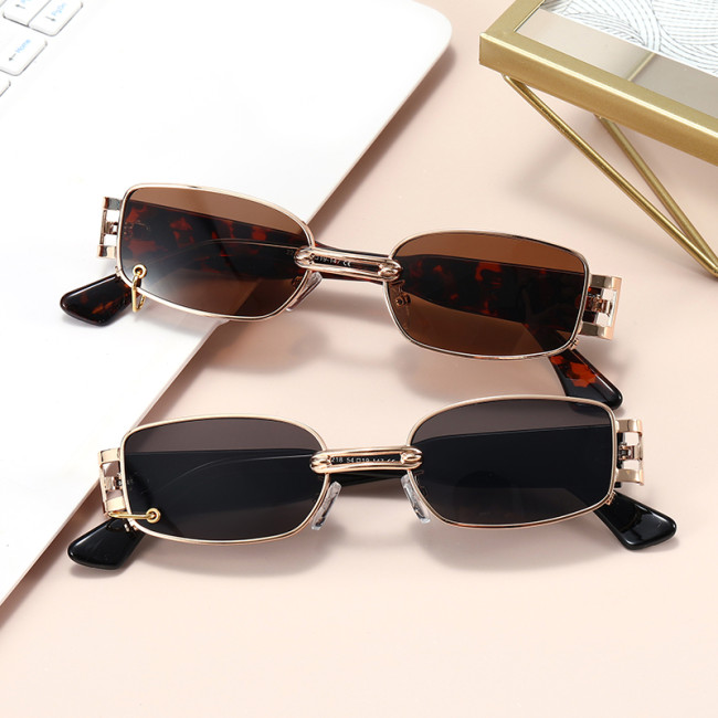 Metal Frame Sun glasses Rectangle UV400 Shades Sunglasses