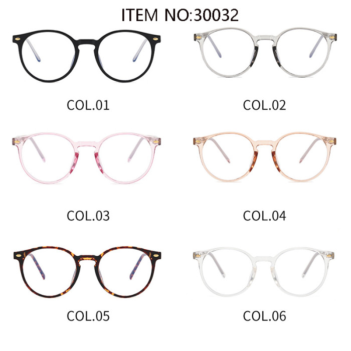 Retro Round TR90 Optical Frame Eyeglasses with Anti Blue Light Lenses Glasses