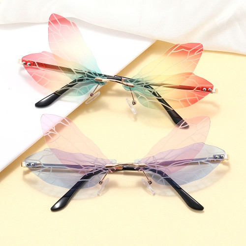 Dragonfly Wing Shaped Lens Rimless Sunglasses