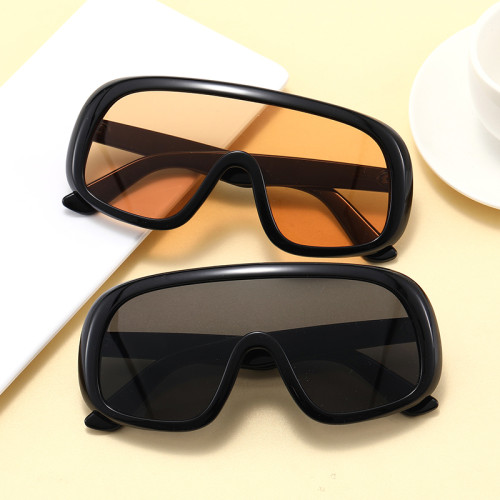 Fashion 2020 One Piece Lens Flat Top Oversize Shield Shades Sunglasses