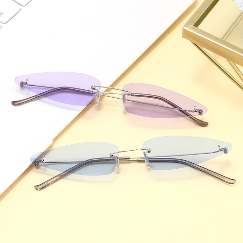 Small Triangle Style Sun glasses Rimless Women Fashion Sunglasses