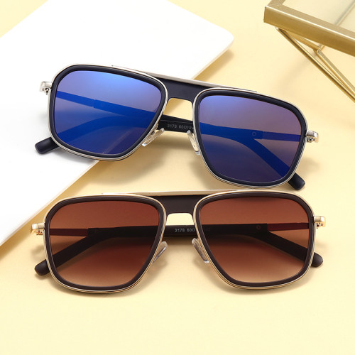 Men Women Square Sunglasses Metal Frame Outdoor Sunglasses